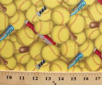 Cotton Sports Fastpitch Softball Bats Packed Yellow Cotton Fabric Print D665.13