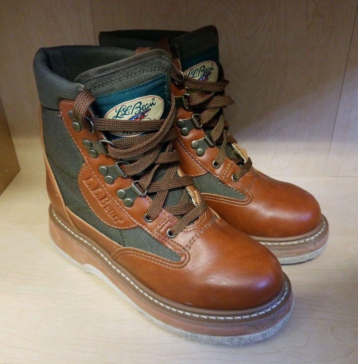 Ll Bean  Pescador botas De Vadeo Pesca Con Mosca Cuero Suela de fieltro Talla M5 W6 .5 Marrón verde  promociones de equipo