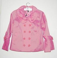 Samuel Dong Women's Double-breasted Short Rain Jacket 3/4 Sleeve Pink Or Blue