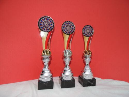 E Darts 3er Serie Pokale Dart Acryl Nation Pokal gold silber bronze inkl.Gravur
