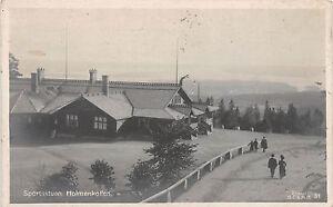 Sportsstuen-Holmenkollen-Norwegen-Foto-Postkarte-gel-1910