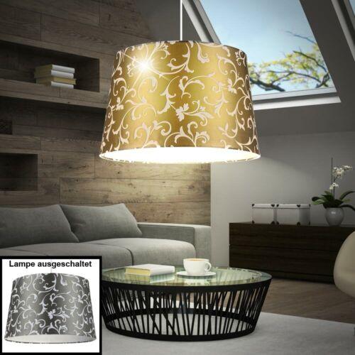Decken Pendel Leuchte grau Ess Zimmer Blumen Design Hänge Lampe rund gold-färbig