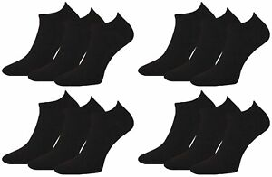 12 Pairs Mens Plain Black Prohike Performance Cotton Trainer Socks, Size 6-11