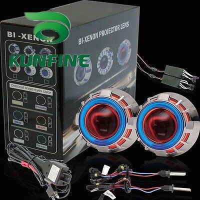 Car Bi-Xenon HID Projector Lens Kit with Double angel eyes and bulbs