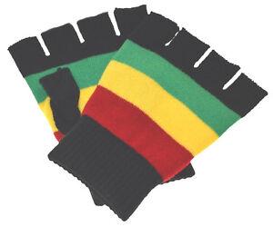Peace Sign and Peace Sign Beanie Rasta Fingerless Gloves