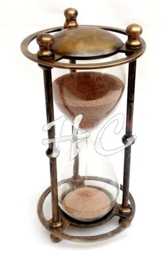 Antique Brass Sand Timer Vintage Nautical Ships Decor Gift Marine Arts Hourglass