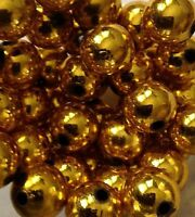 Plastic Beads 14mm Round Metallic Gold For Christmas 2 Cups 178 Loose Beads