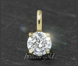 Diamant-Brillant-585-Gold-Anhaenger-0-58ct-in-River-D-amp-Si-Diamantanhaenger-Neu