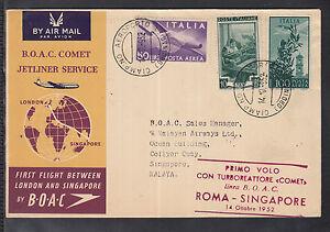 beautiful FFC 1952 B.O.A.C Britannia - Rome to Singapore (Malaya,)