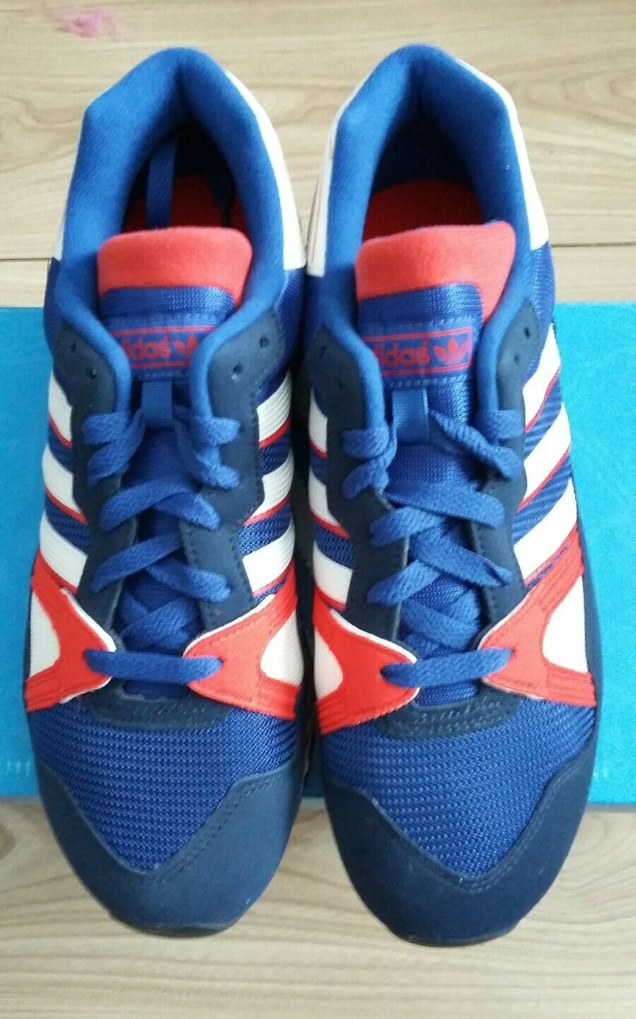 Adidas ZX710 UK8.5 Suede Dead Blau ROT WEISS Rare Dead Suede stock a83036