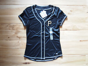 buy popular c8ae5 7d8af Details about NWT Women's Pittsburgh Pirates MLB TX3 Cool Button Up Jersey  Shirt Size MEDIUM M