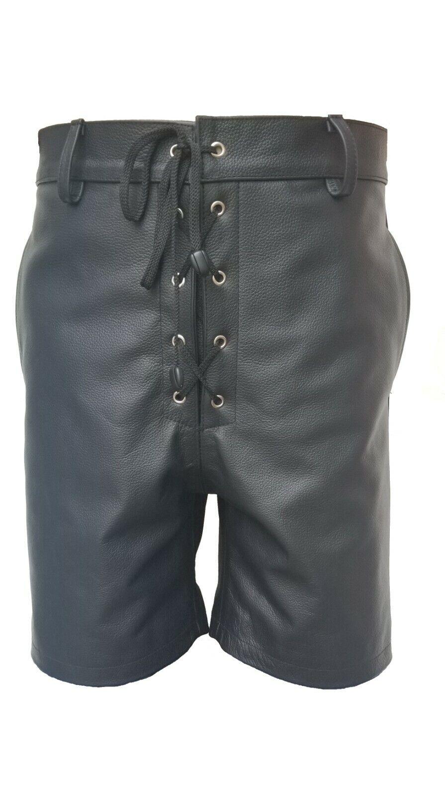 Pantalón corto para hombre Cuero Negro real con cierre frontal del cordón