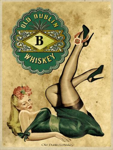 Vintage Old Dublin Irish Whiskey Metal Sign FREE SHIPPING Pinup Girl