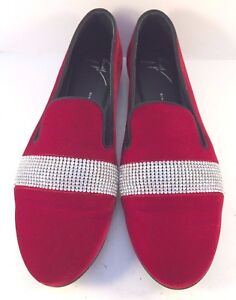 Image is loading Giuseppe-Zanotti-Red-Velvet-Dalila-Jeweled-Flats-Loafers- 32a55ae0ac