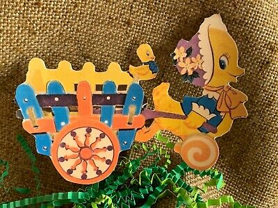 Vintage Repro Easter Chicken Bonnet,Wagon and Eggs Cardstock Decoration,U Choose