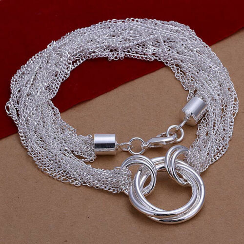con plata Sterling Señora collar cadenas de ancla anillos 50 cm collar PL