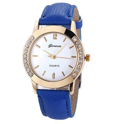 Geneva Luxury Women Watch Golden Diamond Leather Analog Quartz Wrist Watch Gift
