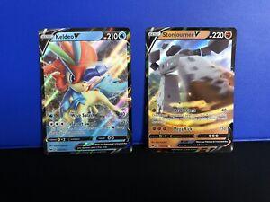 Keldeo-V-053-202-And-Stonjourner-V-115-202-Sword-And-Shield-2-Card-Bundle