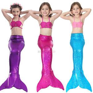 d512493e36 New Kids Girls 3Pcs Mermaid Tail Swimming Bikini Set Swimwear Mono ...