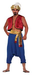Hommes-Genie-Gilet-Debardeur-Aladdin-Bollywood-Accessoire-Deguisement-Rouge