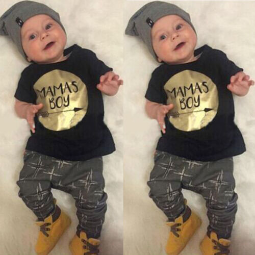 UK STOCK Infant Baby Mama/'s Boys Kids Clothes T-shirt Tops+Long Pants Outfit Set