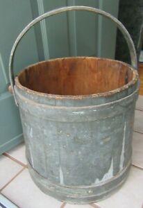 Primitive-Antique-GREEN-Painted-Firkin-Sugar-Bucket-Bail-Handle-COUNTRY-HINGHAM