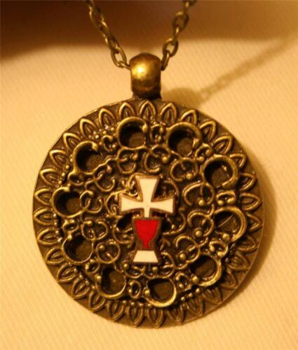Lovely Starburst Rim Lacy Swirl Accent Red & White Cross & Chalice Necklace