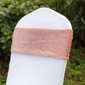 10 Rose Gold Glittered Spandex Chair Sashes Wedding Ceremony Party Decorations Ebay