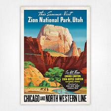 Vintage travel poster - A4 - Zion National Park Utah