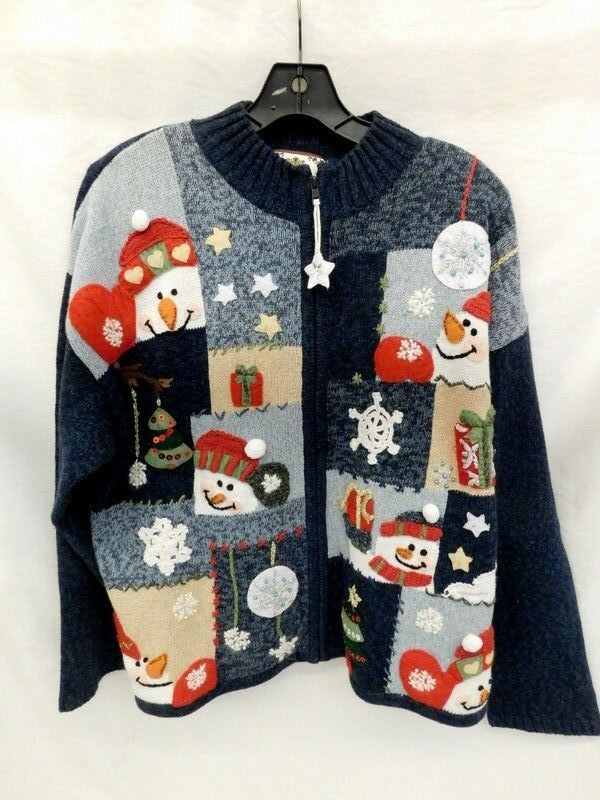TIARA INTERNATIONAL VINTAGE CHRISTMAS SWEATER CARDIGAN SZ L SNOWMAN