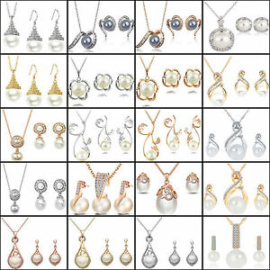 NT-Women-039-s-Wedding-Bridal-Crystal-Pearl-Rhinestone-Necklace-Earrings-Jewelry-Set