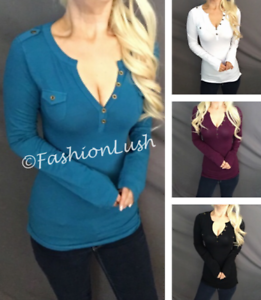 Henley Plunge V-Neck Button Pocket Detail Stretch Long Sleeve Tee T-Shirt Top