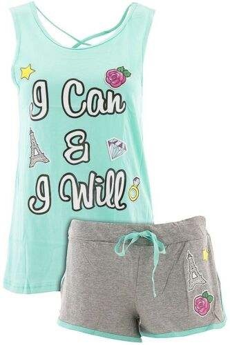 Love Loungewear Juniors I Can And I Will Mint Shorty Pajamas 100/% Cotton Short P