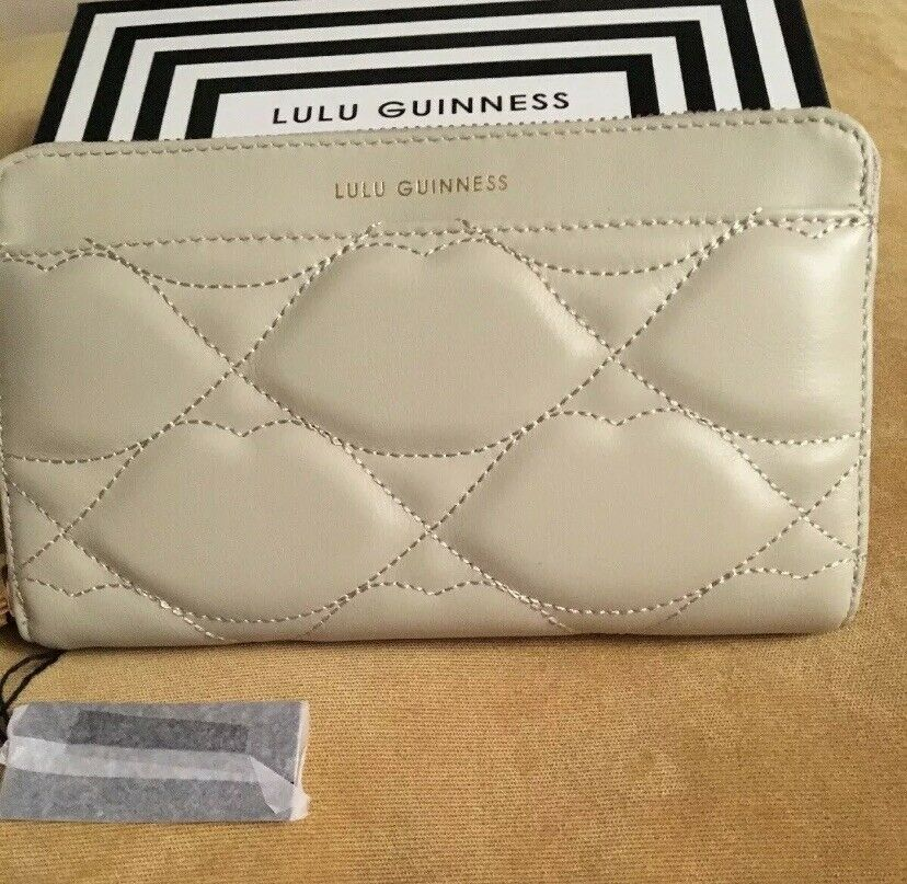 LULU GUINNESS LARGE STONE LEATHER CONTINENTAL WALLET Quilted Lips Design BNIB
