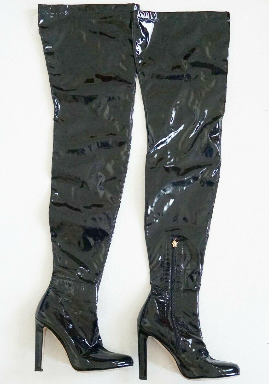 1300 BRIAN ATWOOD MADELINE Black PATENT LEATHER OVER THE KNEE Boots 36 US-6