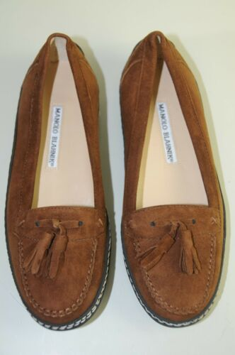 NEW MANOLO BLAHNIK Flats FORD Suede Driving Loafers Brown SHOES 35 34.5 4