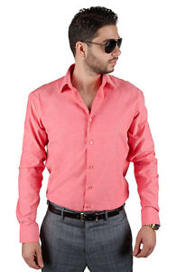 Pink coral tailored slim fit mens dress shirt wrinkle free for Coral shirts for guys