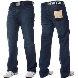 Mens-Straight-Leg-Jeans-Regular-Fit-Denim-Pants-Cotton-Free-Belt-All-Waist-Sizes