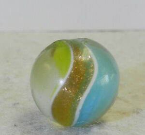 #12605m Vintage German Handmade 2 Color Ribbon Lutz Marble .65 Inches Near Mint