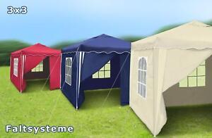 3x3-m-Falt-Pavillon-Garten-Party-Bier-Pavillion-Zelt-blau-rot-beige-schwarz