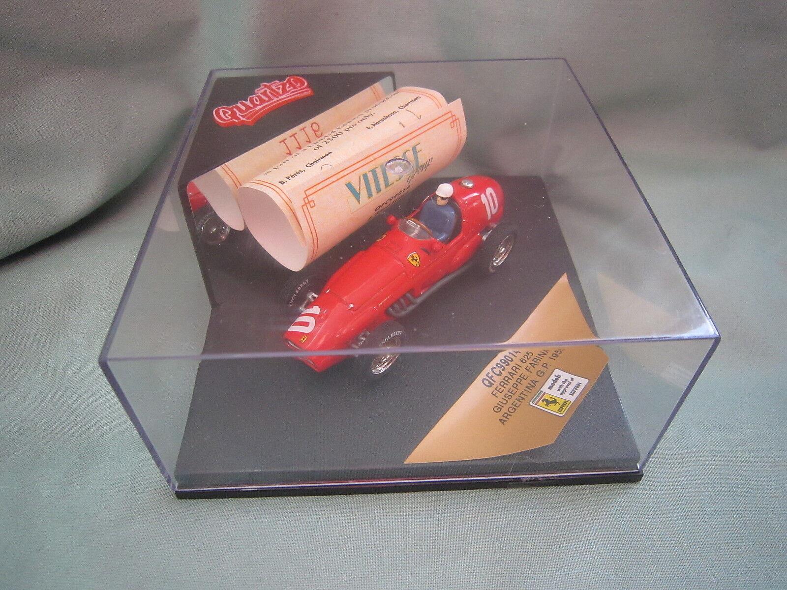 mejor servicio DV6011 QUARTZO VITESSE FERRARI 625  10 plataINA GP GP GP 1955 FARINA QFC99014 1 43 F1  Ven a elegir tu propio estilo deportivo.