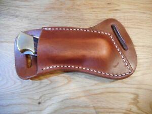 Cross Draw Buffalo leather knife sheath Natural oil rustic. fits a Buck 110