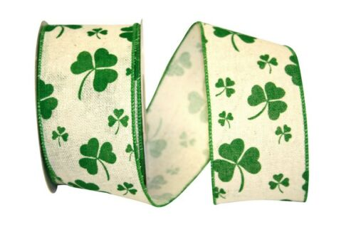 Shamrock Clover on White Ribbon 2.5 in wide 10 Yds rrst 92208W NEW St Patricks