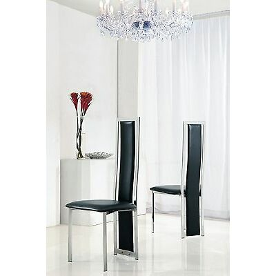 SET OF 2 DESIGNER LEATHER CHROME DINING ROOM CHAIRS-FURNITURE- (5 COLOURS) IJ601