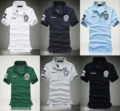 New Men's Stylish Casual Shirts Slim Fit Short Sleeve Polo Shirt T-shirts Tee wq