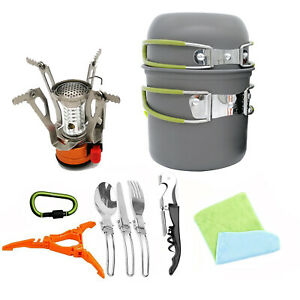 Portable-Gas-Camping-Stove-Burner-Outdoor-Hiking-Picnic-Cookware-Pots-bowl-Pans