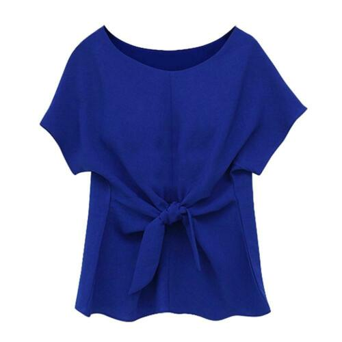 Women Bowknot Blouse O-Neck Short Sleeve Chiffon Casual Loose Lady Tees Tops US