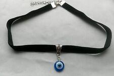 Blue Evil Eye Kabbalah Lucky Charm with Black Flat Velvet Choker Necklace Jewish