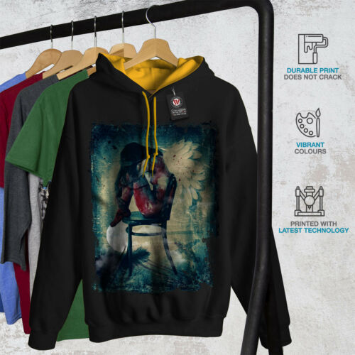 Gothic Girl Casual Pull Wellcoda Angel Femme Aile Homme Contraste Sweat à capuche