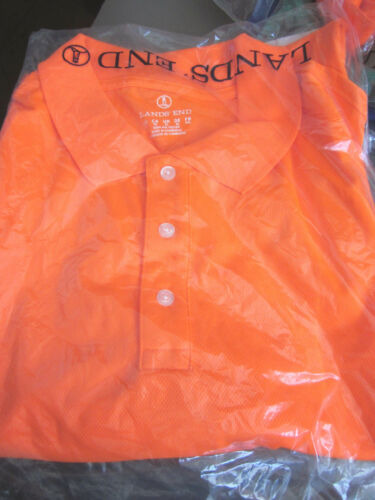 2XL // 2X NEON ORANGE NEW LANDS END MENS S//S ACTIVE POLO SHIRT POLY
